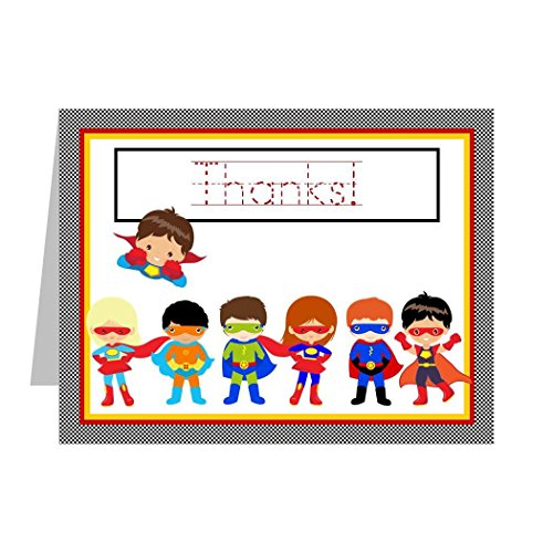 Superhero Thank You Cards for Kids, Thank You Notes with Superheroes; Superhero Thank You Notes Includes 12 Cards and Envelopes with Traceable Lettering]()