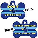 Disney Finding Nemo Dory Double Sided Pet Id Tag for Dogs & Cats Personalized with 4 Lines of Text