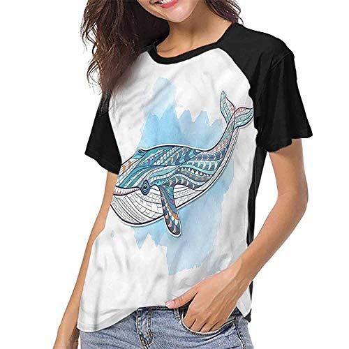 Womens Raglan Baseball T-Shirt,Whale,Tribal Tattoo Style Ornaments S-XXL Casual Blouses Baseball Tshirts Top