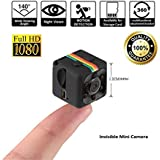 Crazepony Mini Camera SQ11 HD Camcorder 3.6mm Night Vision FOV140 1080P Sports Mini DV Video Recorder (Plastic Sheel)