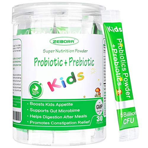 Kids Probiotic & Prebiotics Powder Age 3+ Support Children's Digestive & Immune System with Natural Source, Promotes Constipation Relief, Non-GMO, Gluten-Free, 30 Packets with 5 Billion CFUs