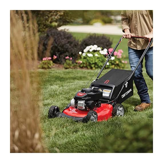 """Craftsman M105 140cc 21-Inch 3-in-1 Gas Powered Push Lawn Mower with Bagger, 1-in, Liberty Red 4 Your purchase includes One Craftsman M105 140cc Gas powered Push Lawn Mower, One bagger and engine oil Lawn Mower width – 21"""" 