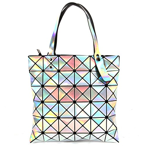 Women's Tote Geometric purse Laser PU Leather Shoulder Bag Top-handle Handbags (RAINBOW) ...