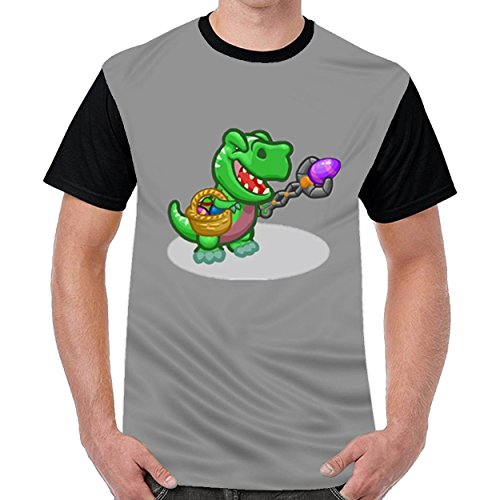 Tstory Easter T Rex With Easter Egg Happy Easter Mens Short Sleeve Cotton T Shirts Dark - Ray Bin