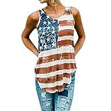 lotus.flower Print Womens Patriotic Sleeveless Vest Stripes Star American Flag Print Tank Tops