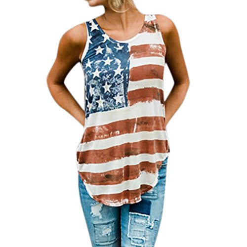 Charmeuse Print Belt (lotus.flower 2018 Women Print Fashion Womens Patriotic Sleeveless Vest Stripes Star Asymmetric American Flag Print Tank Tops (M))