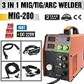 TOSENBA MIG Welder Inverter Mig Welding 200Amp 220V DC TIG ARC MMA Welding Machine Digital Display Welding Lift Portable MIG200