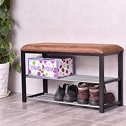 aadfd0a4c0 Image Unavailable. Image not available for. Color: Costway 2 Tier Shoe  Storage Rack Bench Shelf Soft Seat Stool Organizer Entryway Furni