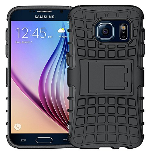 K-Xiang Samsung Galaxy S6 Case,K-Xiang (Armor Series) Heavy Duty Dual Layer Shockproof Silicone Phone Protective Case TPU Hybrid Kickstand Cover For Samsung Galaxy S6 (Black)