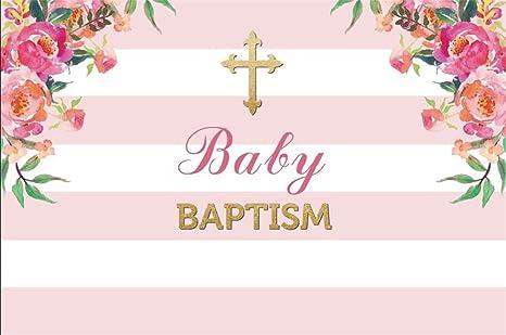 Amazon aofoto 9x6ft baby infant baptism photography background aofoto 9x6ft baby infant baptism photography background colorful flowers pink white striped baby shower christening backdrop mightylinksfo