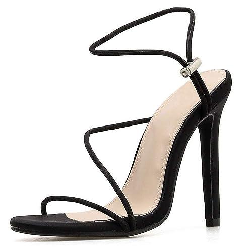 bdf9c18fe70ae LIURUIJIA Women's Ankle Strap Heels Stiletto Cross Tied Sandals Open ...