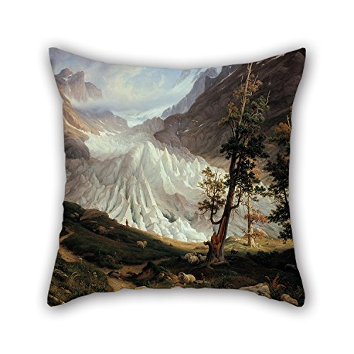(Slimmingpiggy Oil Painting Thomas Fearnley - Grindelwaldgletscher Christmas Pillow Covers 16 X 16 Inches / 40 By 40 Cm For Club Coffee House Deck Chair Kids Father Wife With Two)