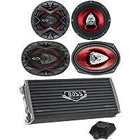 2) Boss CH6520 6.5 250W + 2) 6x9 350W 2-Way Car Speakers+ 2400W 4-Ch Amplifier