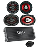 2) Boss CH6520 6.5'' 250W + 2) 6x9'' 350W 2-Way Car Speakers+ 2400W 4-Ch Amplifier