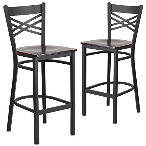 Flash Furniture 2 Pk. HERCULES Series Black ''X'' Back Metal Restaurant Barstool - Walnut Wood Seat