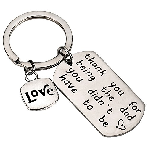 NBE Collection Step Dad Keychain Step Father Keyring Adoptive Daddy Jewelry for Dad's Birthday Gift in Stainless Steel from NBE Collection