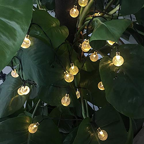 BOMEON Globe Solar String Lights 30 LED 21ft 8 Mode Bubble Crystal Ball Christmas Fairy String Lights for Outdoor Xmas Landscape Garden Patio Home Holiday Path Lawn Party Decoration (WarmWhite) by BOMEON (Image #4)