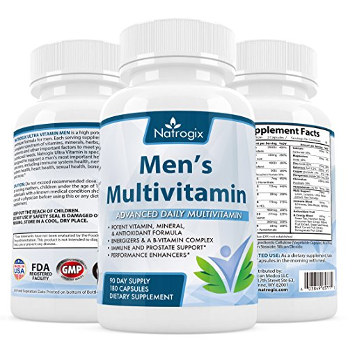 Natrogix Men s Multivitamin 180 CT - Advanced Daily Multivitamins & Minerals Support Digestive & Immune System. Best Antioxidants Support Prostate Health & Male Energy, Made in USA.