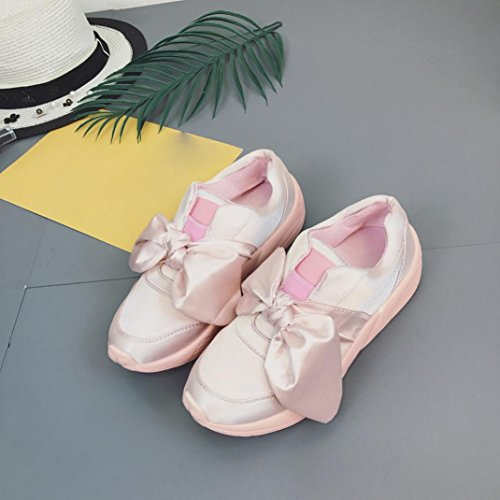 Casual Shoes, Xjp Women Girls Summer Trainers Flat Round Shoes with Bowknot Pink