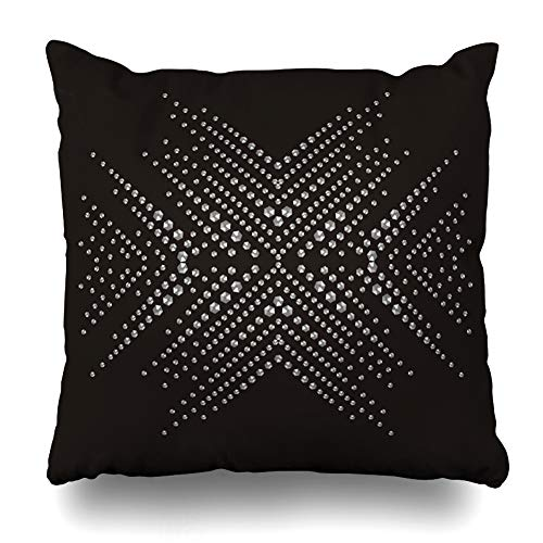 Ahawoso Decorative Throw Pillow Cover Diamond Snowflake Rhinestone Applique Luxury Crystal Studs Modern Embellishment Brilliants for Home Decor Zippered Square Size 18