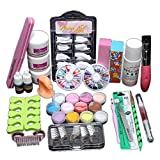 Nail Art Set - Fheaven Acryic Powder Nail Art Decorations Kit Brush Cuticle Revitalizer Oil Pen Tools Nail Tips Glue 3D Mold Set