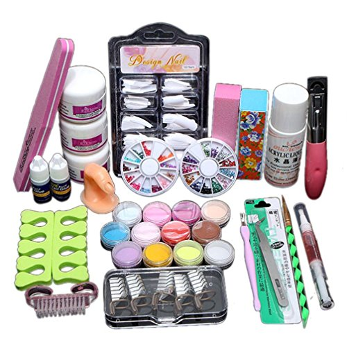 Nail Art Set - Fheaven Acryic Powder Nail Art Decorations Kit Brush Cuticle Revitalizer Oil Pen Tools Nail Tips Glue 3D Mold Set by Fheaven