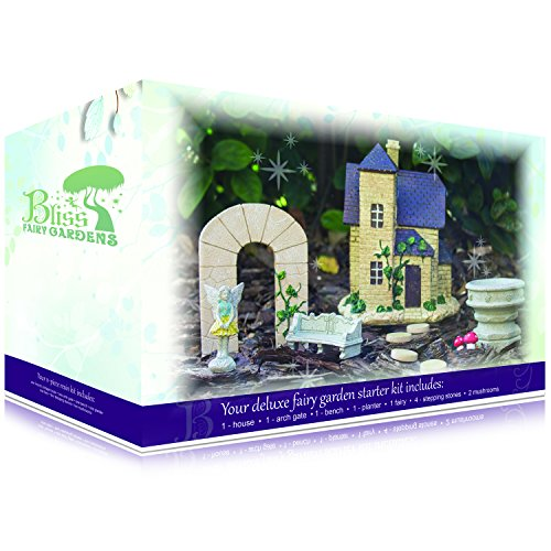 Deluxe Fairy Garden Starter Kit | Multi-Piece, Durable, Hand-Crafted Collection | French Cottage with Fairy Victoria by Bliss Fairy Gardens