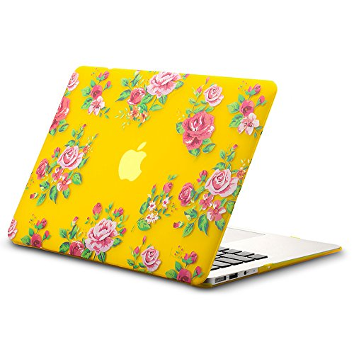 "Kuzy - AIR 13-inch Vintage Flowers YELLOW Rubberized Hard Case for MacBook Air 13.3"" (A1466 & A1369) (NEWEST VERSION) Shell Cover - Vintage Flower YELLOW"