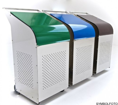 G-Line Pro Abfalleimer Ecobin aus poliertem Edelstahl 1.4301 Aluminiumdeckel Blau B00EK0VOU6 Müllsackstnder
