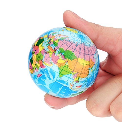Auwer 8cm Stress Relief World Map Foam Ball Atlas Globe Palm Ball Planet Earth Ball Kid Toys (Blue (Style Foam Stress Ball)