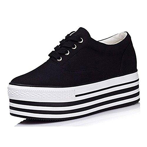 PP FASHION Formal Wedges Women's Low Top Lace Up Platform Shoes Hidden Heel Canvas Sneakers black US8/EU39