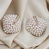 Hubry (TM)Fashion OL Style Women S t u d e a rri n gs Pearl Rhombus Crystal Rhinestone 7