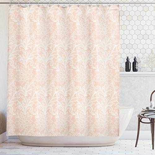 Grunge Lace - Lunarable Victorian Shower Curtain by, Doodle Style Grunge Lace Style Ornamental Pattern Abstract Vintage Floral Motifs, Fabric Bathroom Decor Set with Hooks, 70 Inches, Peach White