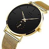 KASHIDUN Men's Watches Luxury Sports Casual Quartz Wristwatches Waterproof Chronograph Calendar Date Stainless Steel Band Black Color (C-Gold Black)