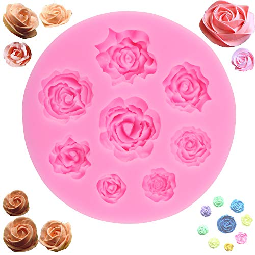 (3D Rose Mold Silicone Handmade Baking Molds - 8 Cavity Roses Collection Fondant Candy Silicone Mold for Sugarcraft Cake Decoration, Cupcake Topper, Polymer Clay, Soap Wax Making Crafting Projects)