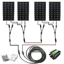 ECO-WORTHY 600W Off Grid Tie 12v 24v Mono Complete Solar Panel Kit: 4pcs 160W Mono Solar Panels+45A Charge Controller+Solar Cable+MC4 Branch Connectors Pair+Z Bracket Mounts