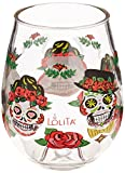 "C.R. Gibson 16-Ounce Stemless Acrylic Wine Glasses, By Lolita, Set of 2, BPA Free, Measures 3.5"" x 4.5"" - Sugar Skull"