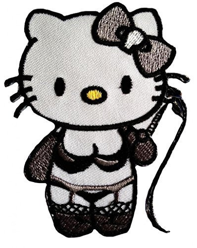 (Naughty Hello Kitty Punk Patch '' 6,2 x 8 cm '' - Embroidered Iron On Patches Sew On Patches Embroid)