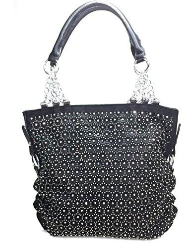 Zzfab 2nd Gen Chain Rhinestone Handbags Circle Sparkle Purses Black