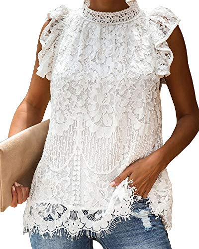 Valphsio Womens Lace Crochet Sleeveless Tops Ruffle Mock Neck Clubwear Blouse ()