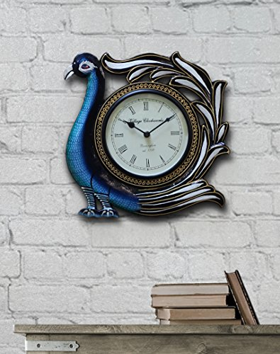 Decorative Wall Clock Wooden Large Vintage Traditional Peacock Shaped Non Ticking Silent Wall Clock with a Roman Numeral