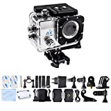 Sport Action Camera 4K Ultra HD 30fps Wifi Waterproof Cam DV Camcorder SONY Sensor 12MP 170 Degree Wide Angle 2 inch LCD Screen (Silver)