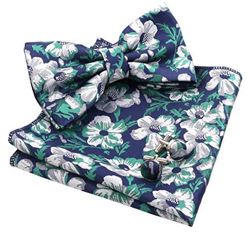 Alizeal Mens Floral Pattern Pre-tied Bow Tie, Hanky and Cufflinks Set, Dark Green+Navy - Pattern Polyester Ties