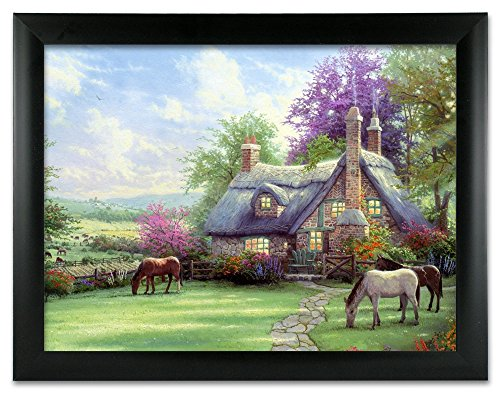 BANBERRY DESIGNS Garden Scene Picture - Country Cottage in a Forest with Horses - Black Framed Artwork - 3D Holographic Wall Art