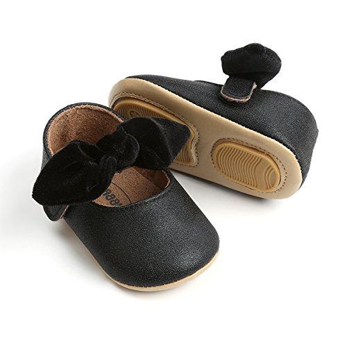 Baby Girls Black Shoe - Baby Girls Mary Jane Flats Anti-Slip Rubber Sole Bow Toddler Princess Dress Shoes