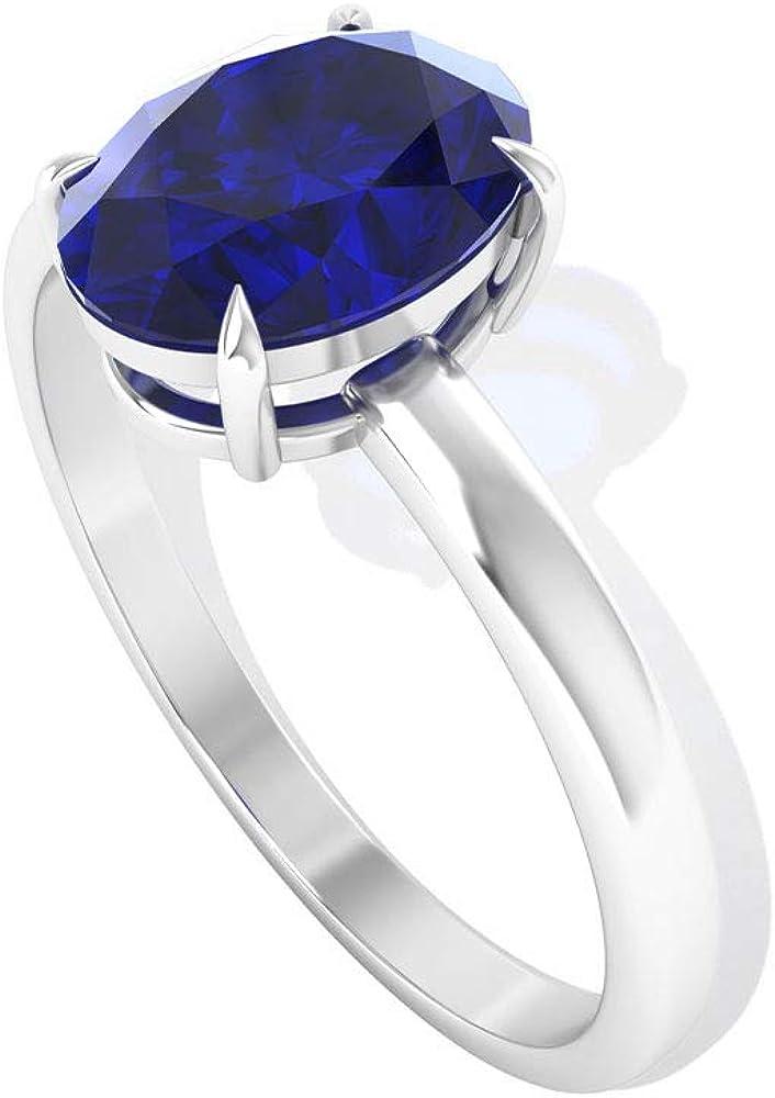 Anillo solitario difusa de zafiro de corte ovalado de 1,55 ct, clásico anillo de compromiso de piedra preciosa, anillo de boda, anillo de promesa para ella, 10K Oro