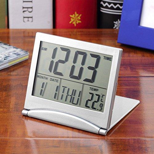 LYPULIGHT Travel Alarm Clock Digital Alarm Clock Portable with Date Week Temperature New Digital LCD Weather Station Folding Desk Temperature Travel Alarm Clock