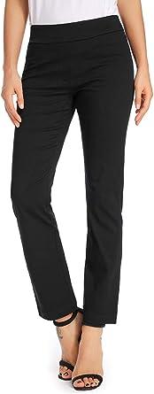 Women's Casual Elastic Waist Bootleg Dress Pants Stretchy Comfort