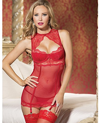 Holiday Sheer & Lace Chemise w/Underwire Cups & Adjustable Straps & Garters Red LG (Holiday Chemise)