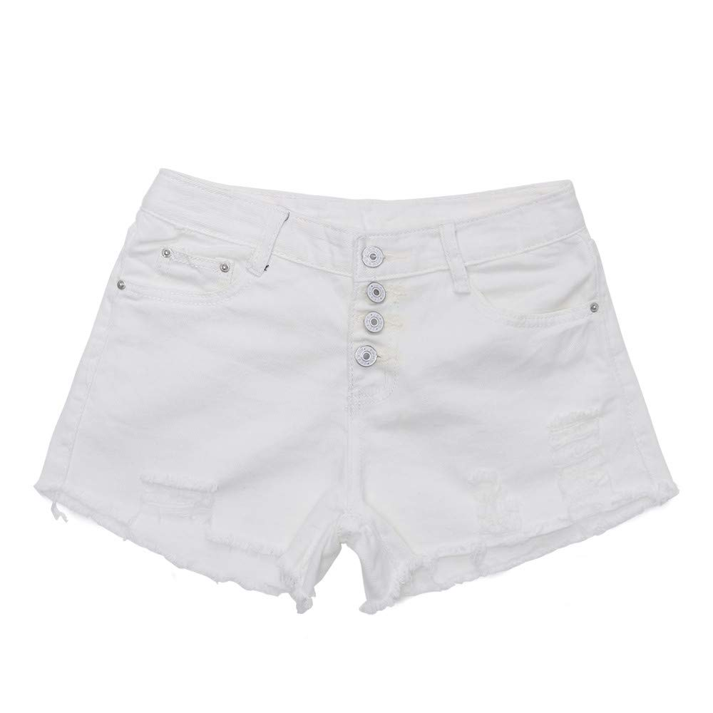 Pervobs Women High Waist Buckled Hole Denim Shorts Thin Wild Edging Hot Pants(S, White)